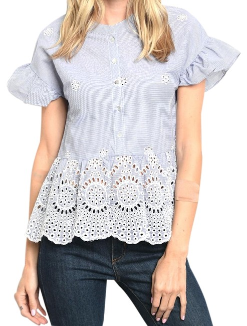 Preload https://item1.tradesy.com/images/bluewhite-ruffle-puff-sleeve-eyelet-peplum-pinstripe-blouse-size-12-l-23997420-0-1.jpg?width=400&height=650