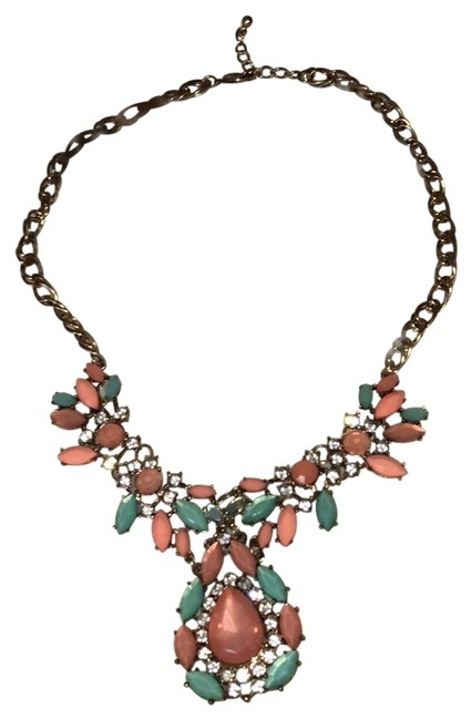 Item - Coral and Blue Statement Necklace
