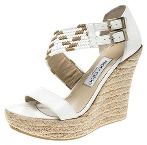 Jimmy Choo Leather Woven Espadrille Wedge White Sandals