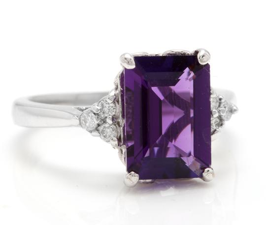 Other 4.15 Carats Natural Amethyst and Diamond 14K Solid White Gold Ring Image 1