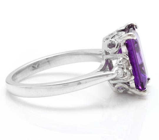 Other 4.15 Carats Natural Amethyst and Diamond 14K Solid White Gold Ring Image 2