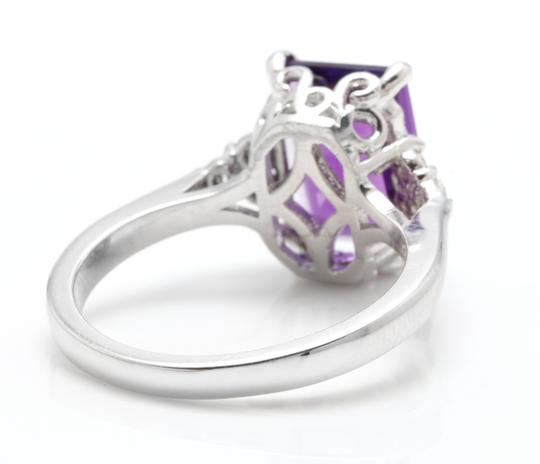 Other 4.15 Carats Natural Amethyst and Diamond 14K Solid White Gold Ring