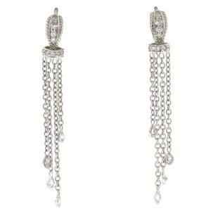 Other 18k White Gold Huggie Diamonds By The Yard Drop Earrings