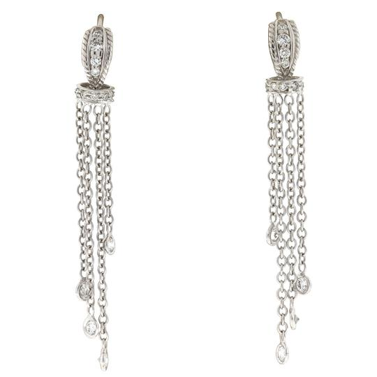 Other 18k White Gold Huggie Diamonds By The Yard Drop Earrings Image 0