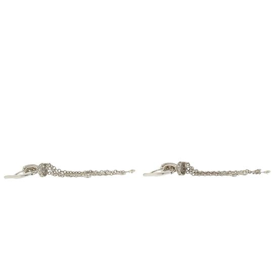 Other 18k White Gold Huggie Diamonds By The Yard Drop Earrings Image 3
