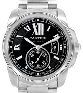 Cartier Calibre De Cartier Stainless Steel Black Dial Mens Watch W7100016