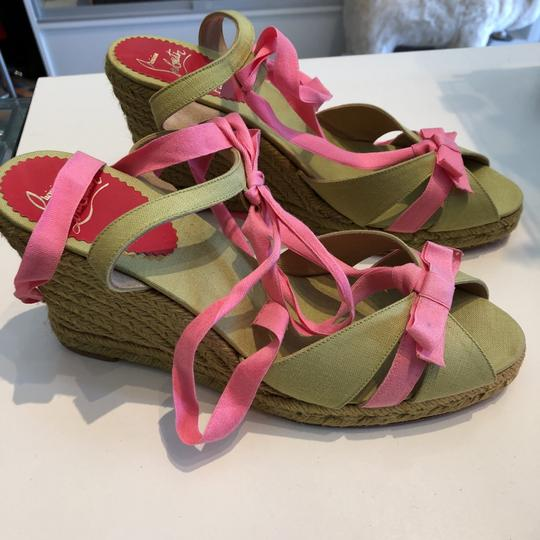 Christian Louboutin celadon with pink straps Wedges