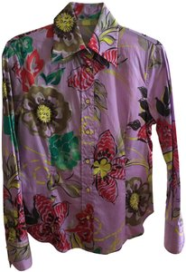 Etro Italian Fitted Button Down Shirt LILAC and multi-colored floral pattern