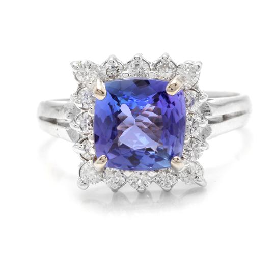 Other 3.00 Carats NATURAL TANZANITE and DIAMOND 14K Solid White Gold Ring Image 0