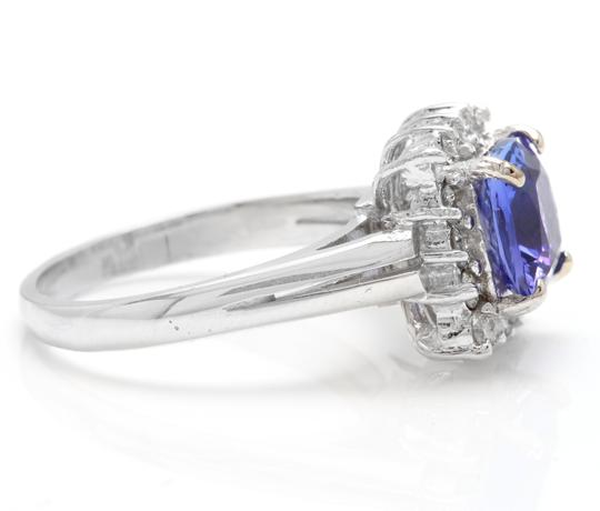 Other 3.00 Carats NATURAL TANZANITE and DIAMOND 14K Solid White Gold Ring Image 2