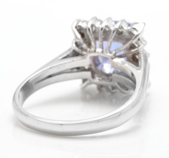 Other 3.00 Carats NATURAL TANZANITE and DIAMOND 14K Solid White Gold Ring