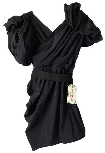Preload https://item3.tradesy.com/images/black-crossover-draped-puff-sleeve-lbd-short-cocktail-dress-size-4-s-23997502-0-1.jpg?width=400&height=650