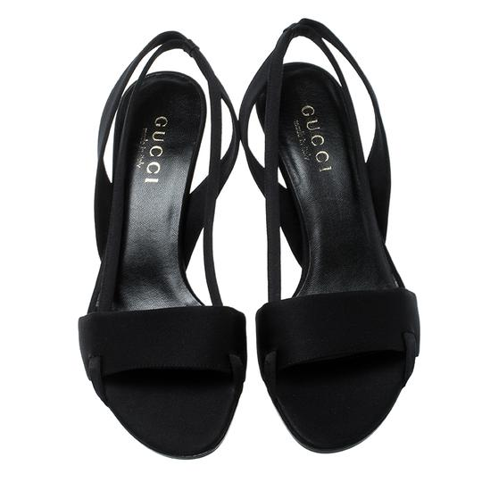 Gucci Satin Open Toe Slingback Black Sandals