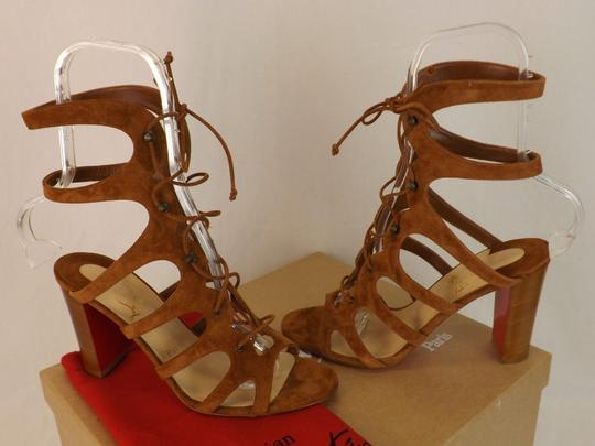 Christian Louboutin Heels Gladiator Amazoudur Caged Brown Sandals