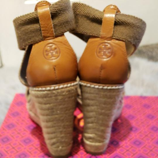 Tory Burch Olive and tan Wedges
