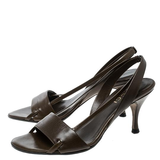 Gucci Leather Open Toe Slingback Brown Sandals