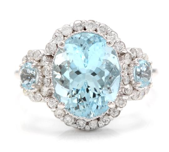 Preload https://img-static.tradesy.com/item/23997570/white-gold-690ct-natural-aquamarine-and-diamond-14k-solid-ring-0-0-540-540.jpg
