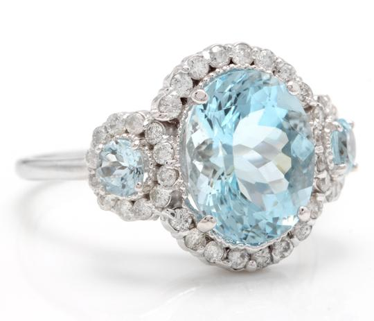 Other 6.90Ct Natural Aquamarine & Diamond 14K Solid White Gold Ring