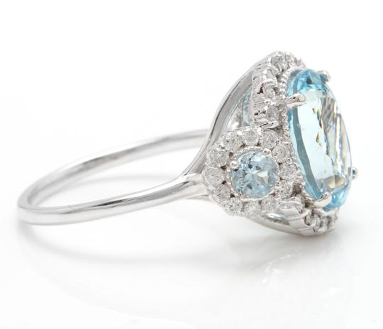 Other 6.90Ct Natural Aquamarine & Diamond 14K Solid White Gold Ring Image 2