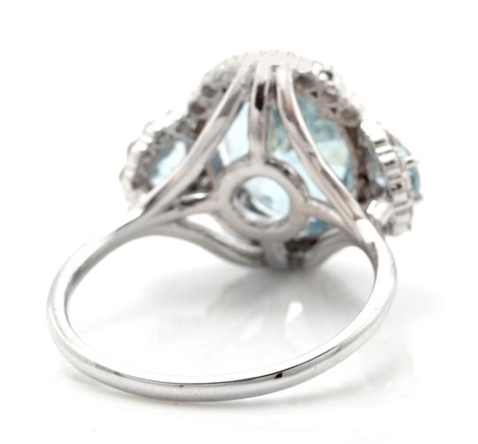 Other 6.90Ct Natural Aquamarine & Diamond 14K Solid White Gold Ring Image 3