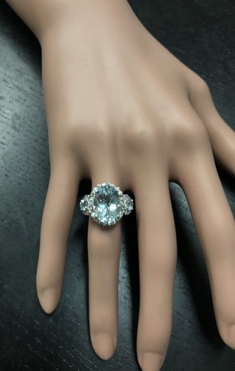Other 6.90Ct Natural Aquamarine & Diamond 14K Solid White Gold Ring Image 4