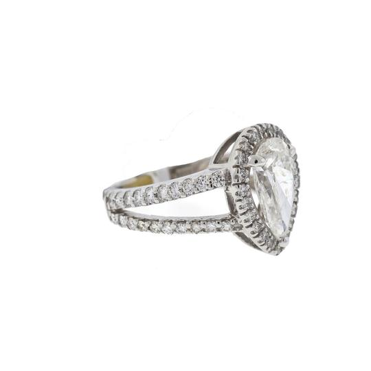 Other 14k White Gold Engagement Ring Two Row Setting Pear Shape 2Ct Diamond