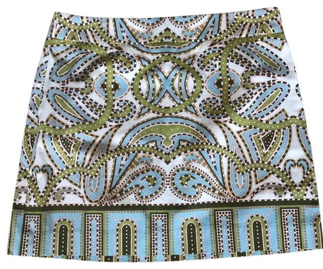 J.Crew Mini Skirt multiple color print green and blue