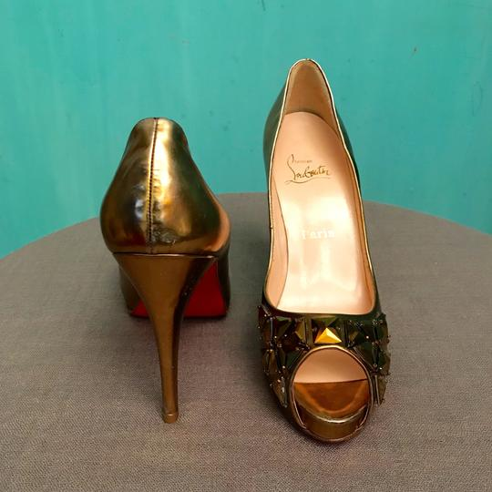 Christian Louboutin Sexy Fashion Designer Trendy Very Prive Gold Platforms Image 2