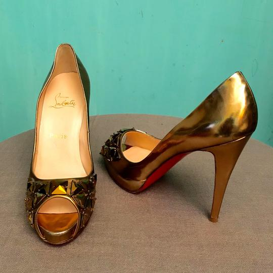 Christian Louboutin Sexy Fashion Designer Trendy Very Prive Gold Platforms Image 4