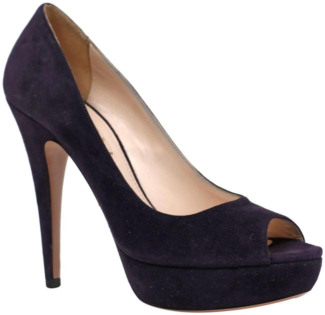 Item - Mora Suede Leather Open Toe Logo Calzature Donna Pumps Size EU 37.5 (Approx. US 7.5) Narrow (Aa, N)