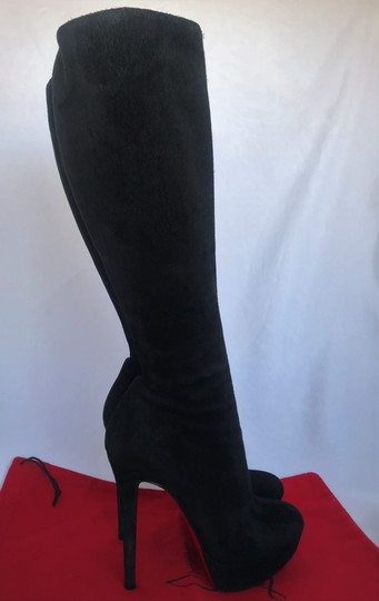 Christian Louboutin Thigh High Ankle Over The Knee Heel Black Boots