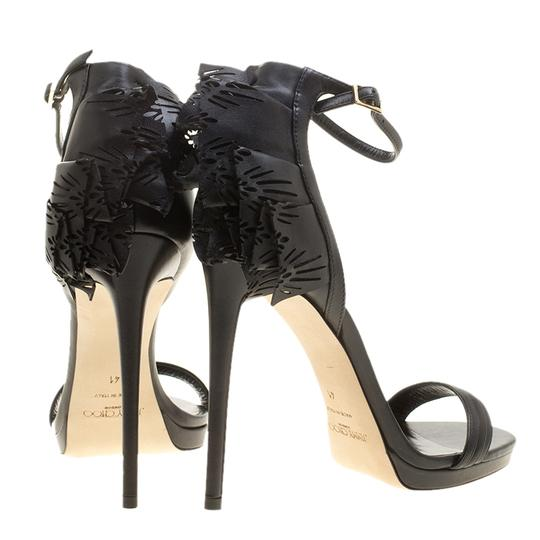 Jimmy Choo Leather Ruffle Ankle Strap Open Toe Black Sandals