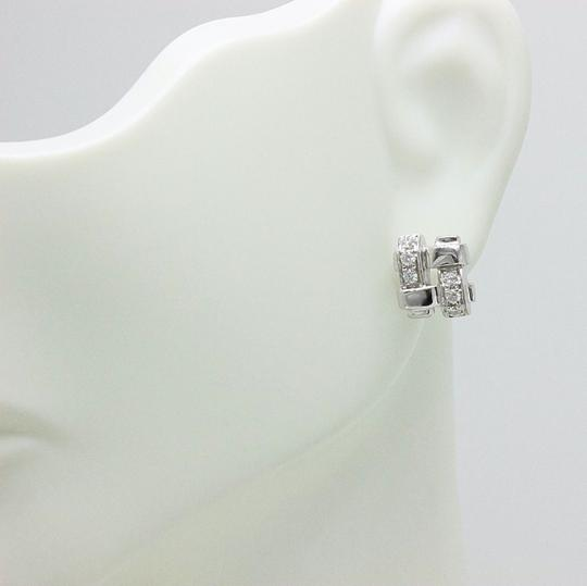 Tiffany & Co. Tiffany & Co 18k White Gold Diamond Vannerie Earrings Basket Weave