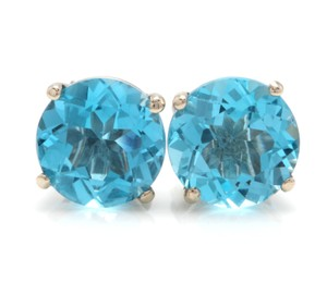 Other 4.50 Carats Natural Swiss Blue Topaz 14K Solid White Gold Stud Earring