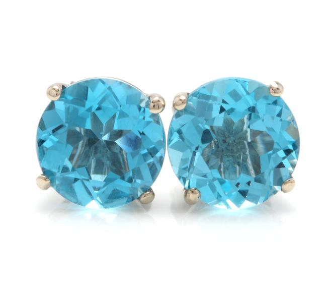 White Gold 4.50 Carats Natural Swiss Blue Topaz 14k Solid Stud Earrings White Gold 4.50 Carats Natural Swiss Blue Topaz 14k Solid Stud Earrings Image 1