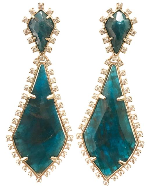 Kendra Scott Bluish Green Gold Glitter Stones August Earrings Kendra Scott Bluish Green Gold Glitter Stones August Earrings Image 1