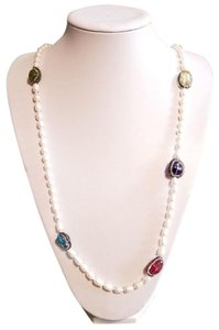 Lily and Iris of London Genuine Gem Pearl Magnificent Crystal Necklace continuous Strand 36