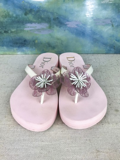 Dior Christian Foam Flip Flops Flower Pink Sandals