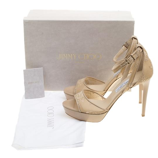 Jimmy Choo Lace Patent Leather Ankle Strap Platform Beige Sandals