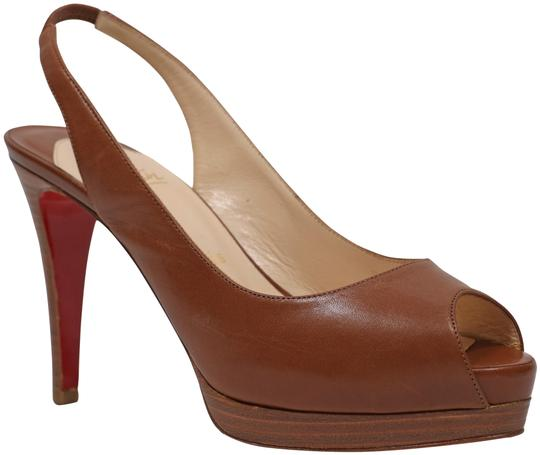 Preload https://item1.tradesy.com/images/christian-louboutin-brown-leather-beige-peeptoe-logo-pumps-size-eu-36-approx-us-6-narrow-aa-n-23997735-0-1.jpg?width=440&height=440