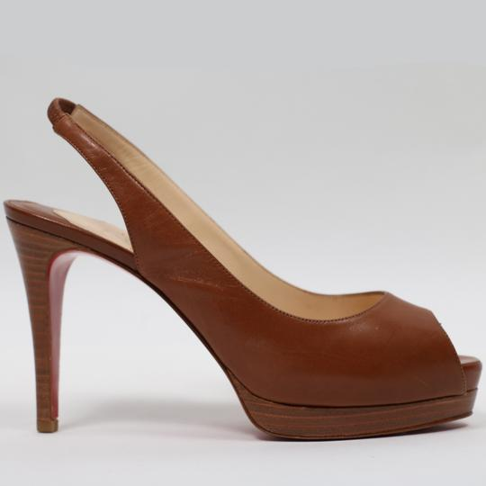 Christian Louboutin Suede Leather Logo Brown Pumps