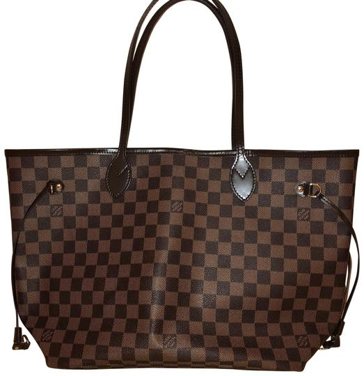 Preload https://item2.tradesy.com/images/louis-vuitton-neverfull-damier-ebene-canvas-brown-leather-tote-23997741-0-1.jpg?width=440&height=440