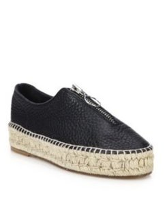 Alexander Wang Espadrille Leather Round Toe Suede Black Flats