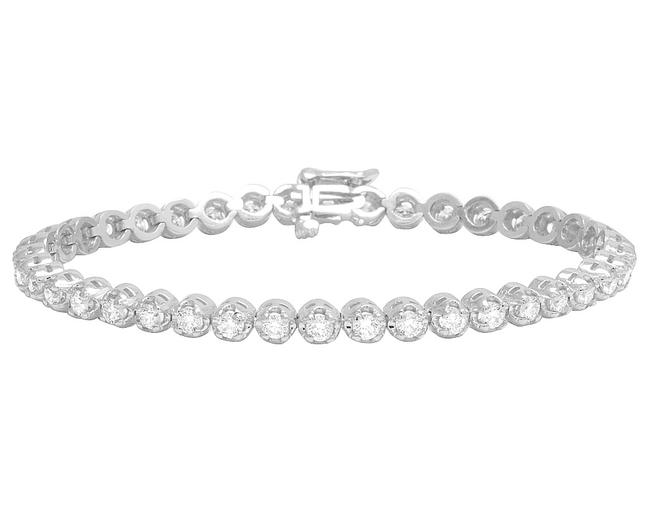 """Jewelry Unlimited 10k White Gold Mens Ladies 1 Row Tennis Real Diamond 7"""" 3 3/5 Bracelet Jewelry Unlimited 10k White Gold Mens Ladies 1 Row Tennis Real Diamond 7"""" 3 3/5 Bracelet Image 1"""