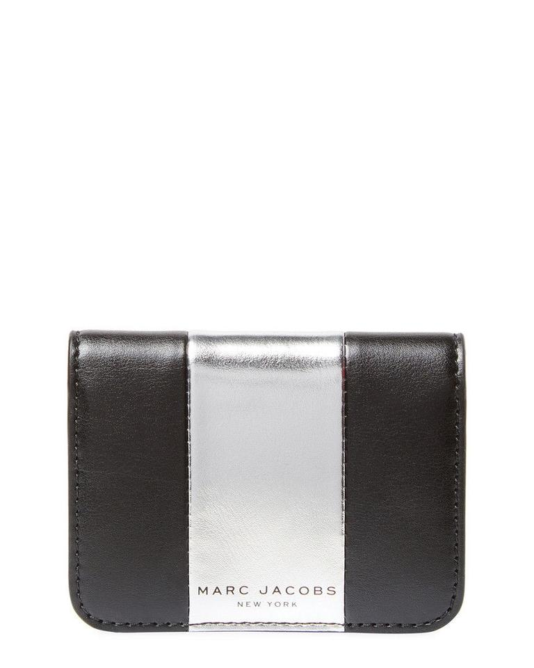 new style 9c262 28697 Marc Jacobs Black Sliver New Metallic Pvc Leather Fold Business Card Holder  Wallet