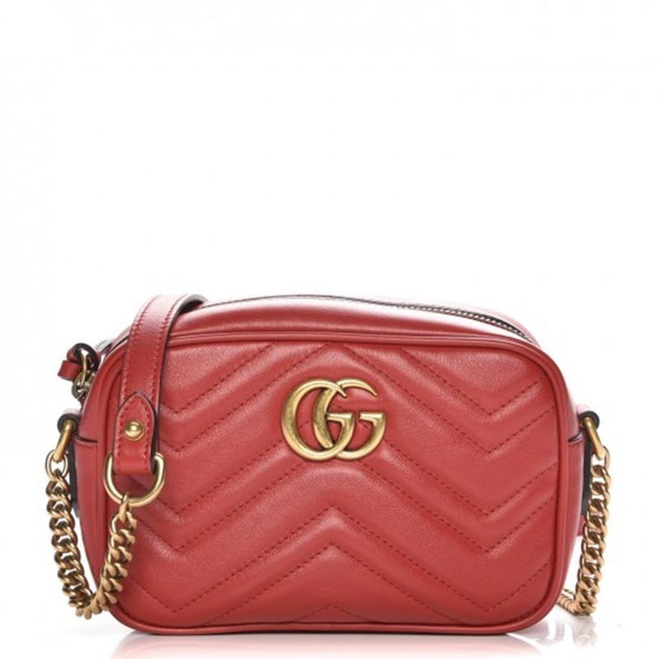 f25aadfda55a Gucci Marmont Gg Mini Hibiscus Red Leather Shoulder Bag - Tradesy