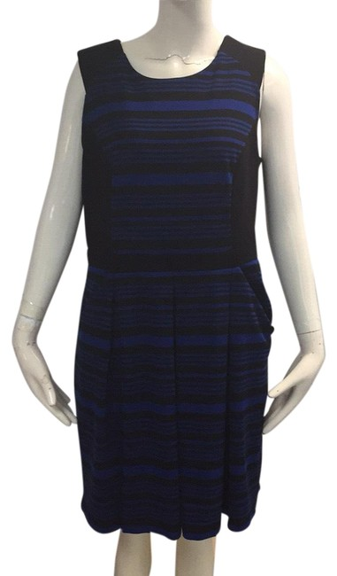 Preload https://img-static.tradesy.com/item/23997803/ann-taylor-loft-black-and-blue-stripe-mid-length-workoffice-dress-size-12-l-0-1-650-650.jpg