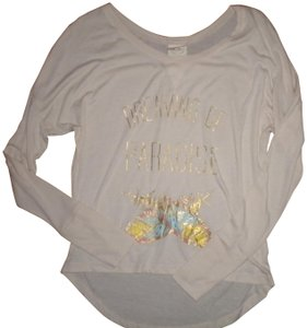 Belle du Jour Hi/Lo Long Sleeve T Shirt Beige
