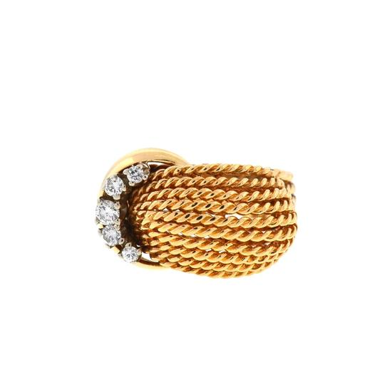 Preload https://img-static.tradesy.com/item/23997972/14k-yellow-gold-rope-style-diamond-ring-0-0-540-540.jpg
