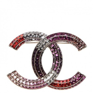 Chanel Pink Purple Red Crystal Baguette Gold Brooch 15S